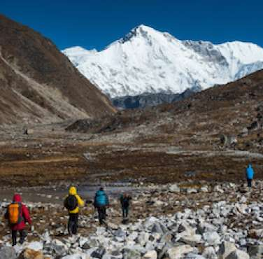 Walking through the Everest base camp